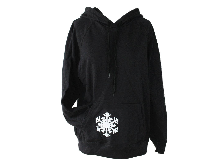 Hoodie Kapuzenpullover Schwarz Schneeflocke