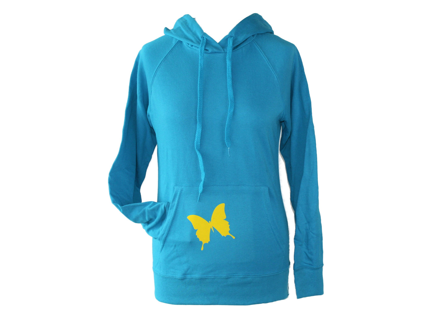 hoodie - sweater turquoise butterfly