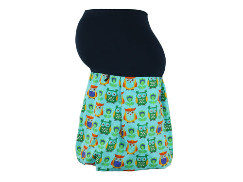 maternity skirt bubble owls aqua