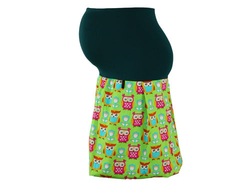 maternity skirt bubble owls green