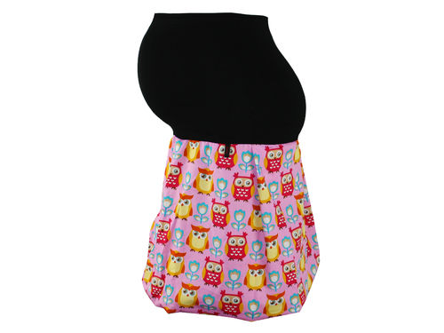 maternity skirt bubble owls pink