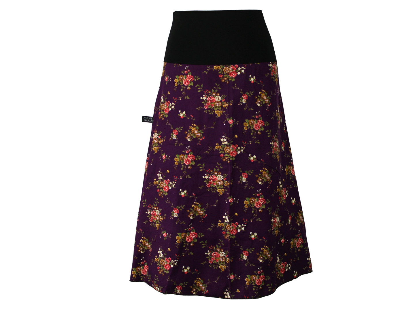 AVANT GARDE Skirt Purple Cord A-Line Midi Colorful Calf Long Flowers